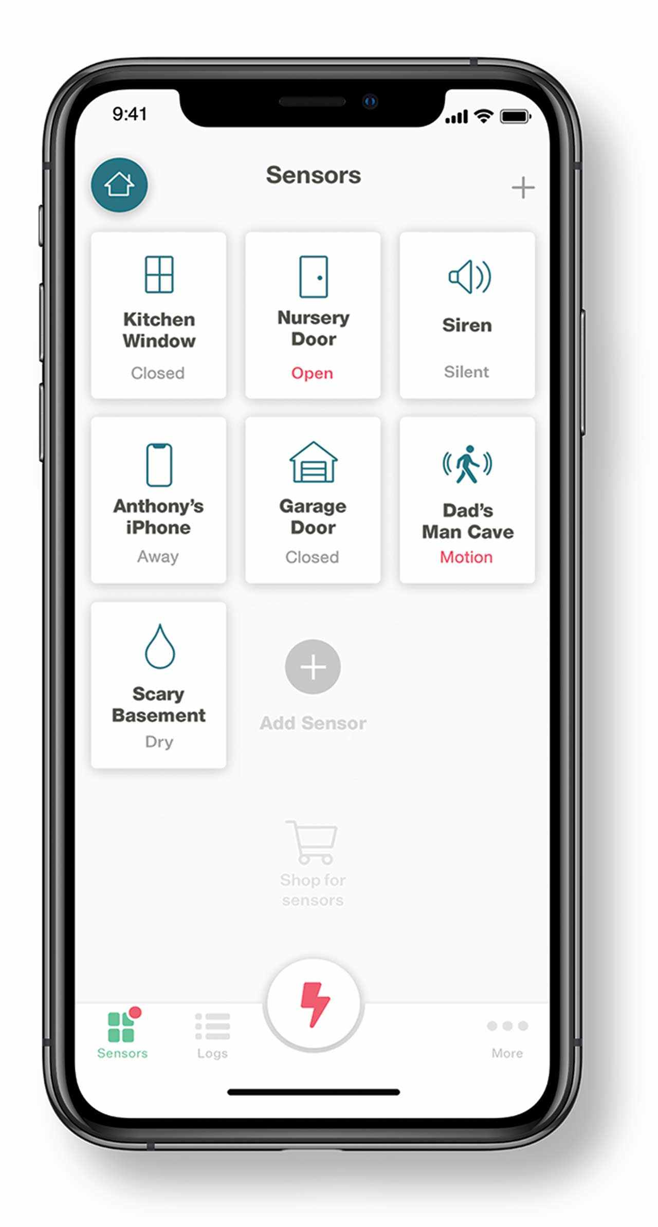 Mobile app for do it yourself security system.