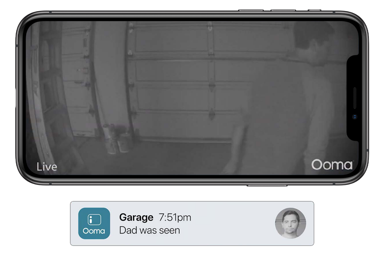Ooma Smart Camera performing night vision detection - Dad was seen in garage notification